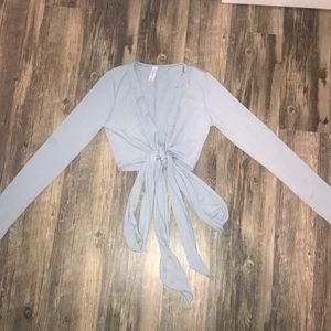 Light blue cropped wrap long sleeve